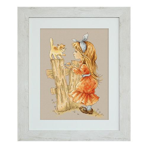 """Набор для вышивания крестом Luca-S """"С котенком"""" (фото, вид 1)"""