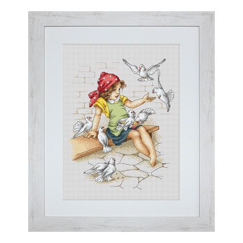 """Набор для вышивания крестом Luca-S """"Девочка с голубями"""" (фото, вид 1)"""