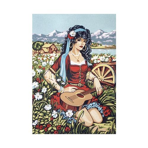 """Канва/ткань с нанесенным рисунком Diamant """"Цыганка в поле"""""""