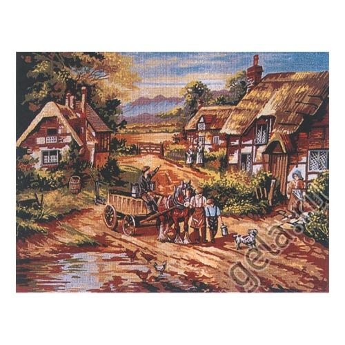 """Канва/ткань с нанесенным рисунком Gobelin-L """"Село"""""""