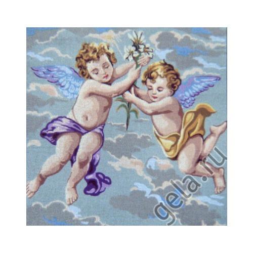 "Канва/ткань с нанесенным рисунком Gobelin-L ""Ангелочки в голубом"""