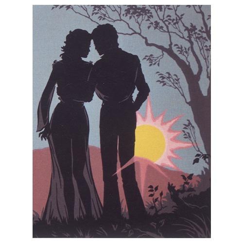 "Канва/ткань с нанесенным рисунком Diamant ""Пара, силуэт на утренней заре """