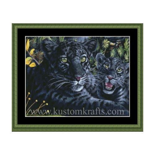 """Набор для вышивания крестом Kustom Krafts Inc. """"Черная пантера с детенышем"""""""