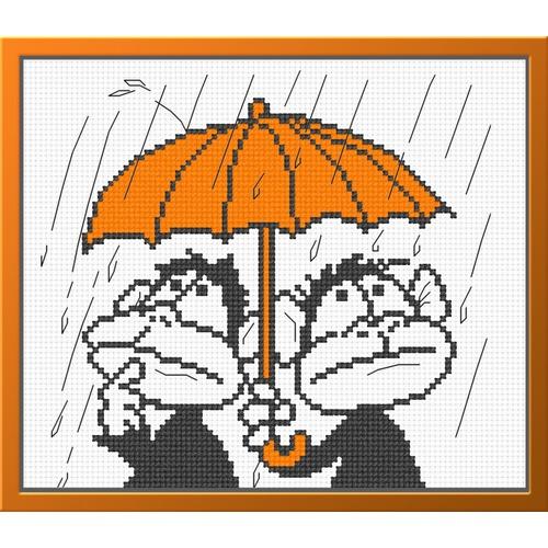 """Набор для вышивания крестом Овен """"Обезьянки под зонтом"""""""