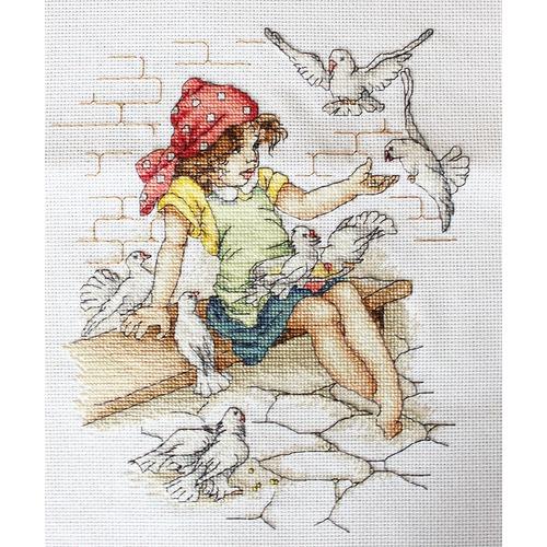 """Набор для вышивания крестом Luca-S """"Девочка с голубями"""" (фото)"""