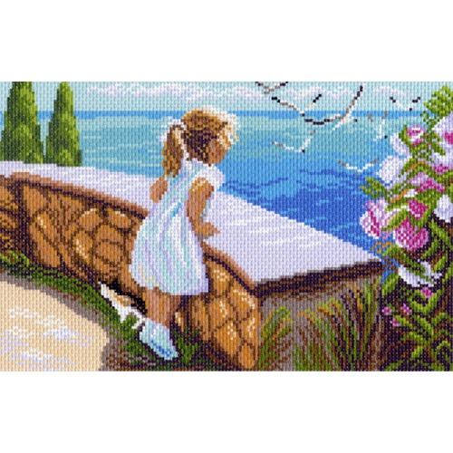 """Канва/ткань с нанесенным рисунком Матрёнин посад """"Девочка у моря"""""""