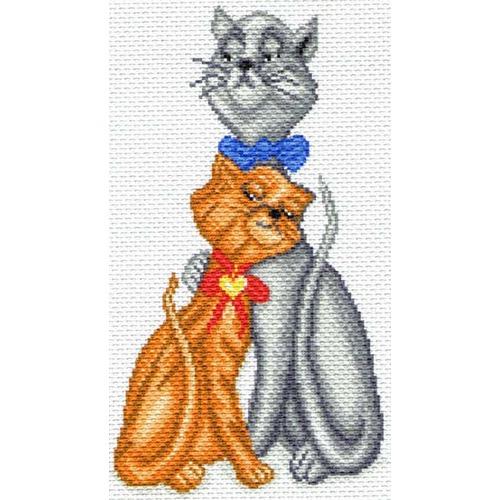 """Канва/ткань с нанесенным рисунком Матрёнин посад """"Кот с кошкой"""""""