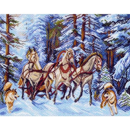 """Канва/ткань с нанесенным рисунком Матрёнин посад """"Мчится тройка"""""""