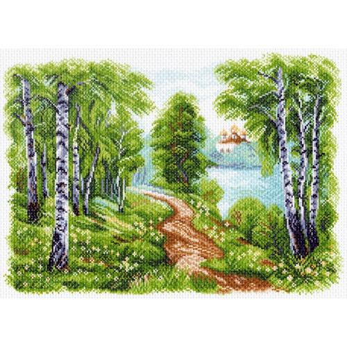 "Канва/ткань с нанесенным рисунком Матрёнин посад ""Храм у озера"""
