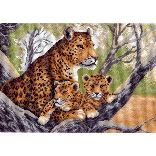 """Канва/ткань с нанесенным рисунком Матрёнин посад """"Леопарды на дереве"""""""