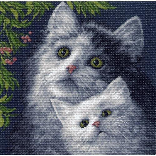 """Канва/ткань с нанесенным рисунком Матрёнин посад """"Кошка с котенком"""""""