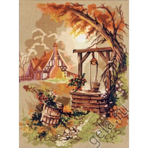 "Канва/ткань с нанесенным рисунком Gobelin-L ""Деревенский колодец"""