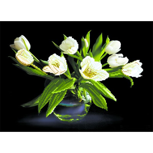 "Канва/ткань с нанесенным рисунком Матрёнин посад ""Белые тюльпаны"""