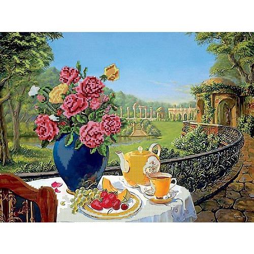 "Канва/ткань с нанесенным рисунком Глурия (Астрея) ""Завтрак на балконе"""