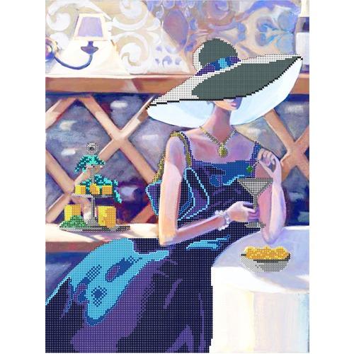 """Канва/ткань с нанесенным рисунком Глурия (Астрея) """"В кафе"""""""