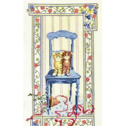 """Набор для вышивания крестом Марья искусница """"Котята на стуле"""""""