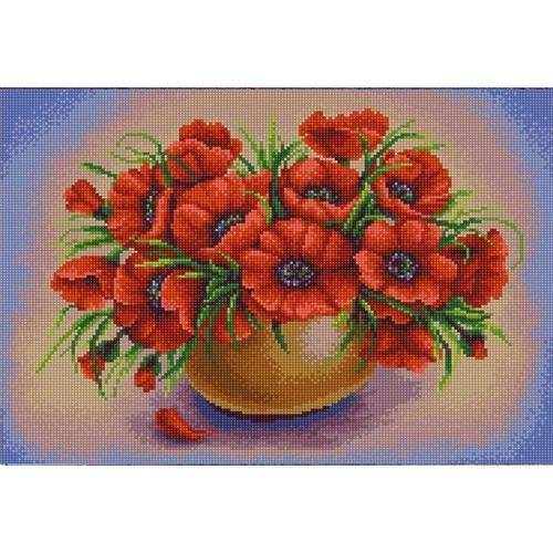 """Канва/ткань с нанесенным рисунком Конёк """"Маки в вазе"""""""