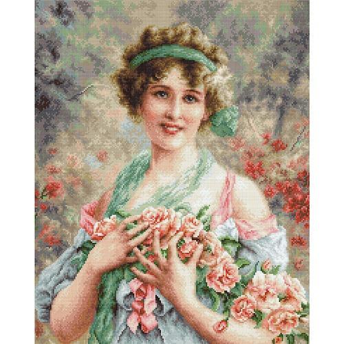 """Набор для вышивания крестом Luca-S """"Девушка с розами"""""""