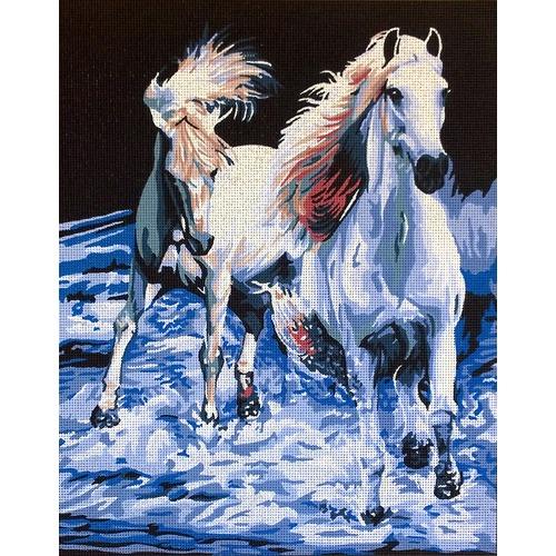 "Канва/ткань с нанесенным рисунком Gobelin-L ""Пара белых лошадей"""