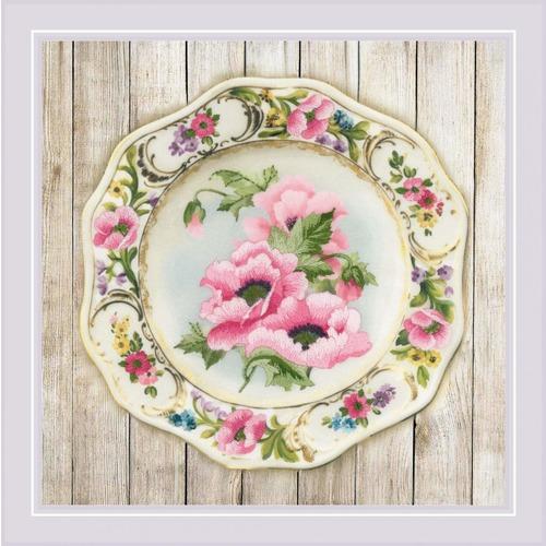 """Набор для вышивания гладью Риолис """"Тарелка с розовыми маками. Гладь"""""""
