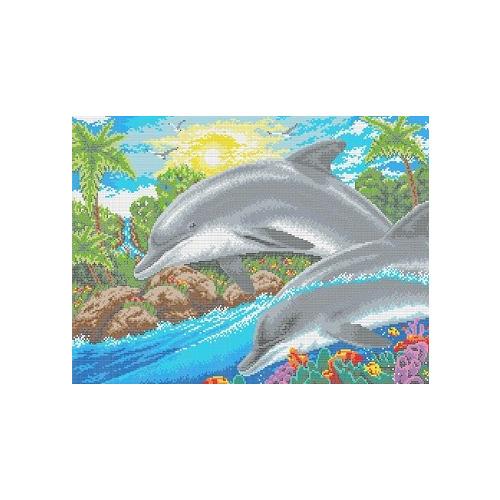 """Канва/ткань с нанесенным рисунком Каролинка """"Дельфин"""""""