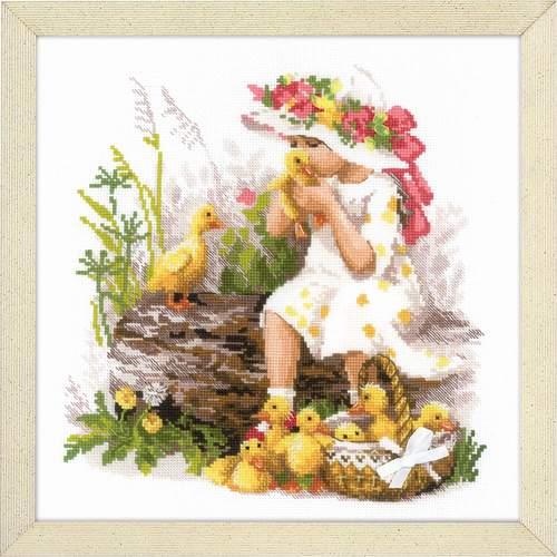 """Набор для вышивания крестом Риолис """"Девочка с утятами"""" (фото)"""