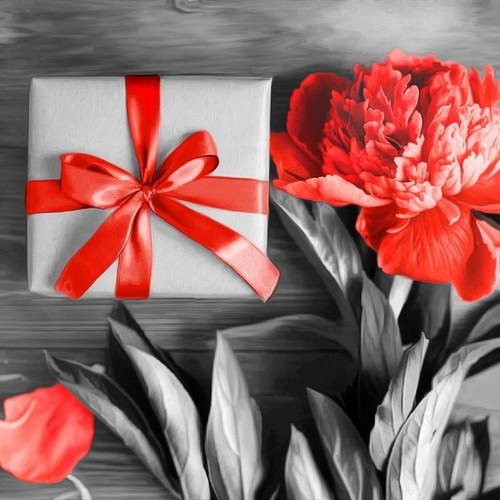 """Набор для выкладывания мозаики Алмазная живопись """"Подарок с пионом"""""""