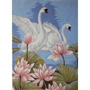 "Канва/ткань с нанесенным рисунком Gobelin-L ""Лебеди в лотосах"""
