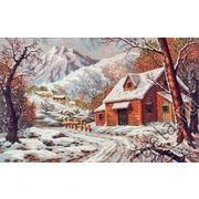 "Канва/ткань с нанесенным рисунком Diamant ""Зимний домик в горах"""