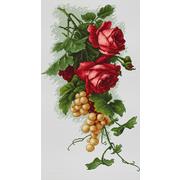 """Набор для вышивания крестом Luca-S """"Красные розы с виноградом"""""""