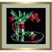 """Набор для вышивания крестом Овен """"Тюльпаны на черном"""""""