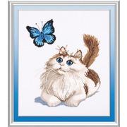 """Набор для вышивания крестом Овен """"Бабочка и кот"""""""