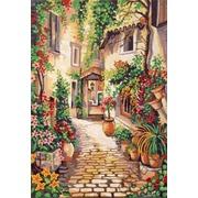 "Канва/ткань с нанесенным рисунком Gobelin-L ""Цветущий дворик"""