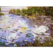 "Канва/ткань с нанесенным рисунком Gobelin-L ""Лебеди"""