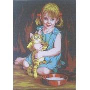 """Канва/ткань с нанесенным рисунком Gobelin-L """"Девочка с котенком"""""""