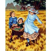 """Канва/ткань с нанесенным рисунком Gobelin-L """"Сбор урожая"""""""