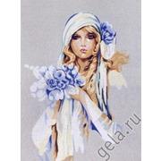 """Канва/ткань с нанесенным рисунком Diamant """"Дама в голубом"""""""