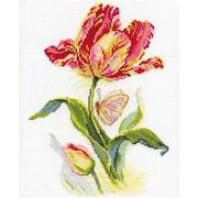 """Набор для вышивания крестом Алиса """"Тюльпан и бабочка"""""""