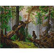 """Канва/ткань с нанесенным рисунком Конёк """"Утро в сосновом лесу"""""""
