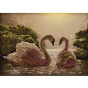 """Канва/ткань с нанесенным рисунком Конёк """"Пара лебедей"""""""