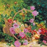 """Канва/ткань с нанесенным рисунком Абрис Арт """"Садовые розы"""""""