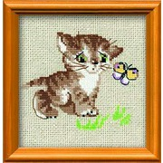 """Набор для вышивания крестом Риолис """"Котенок с бабочкой"""""""