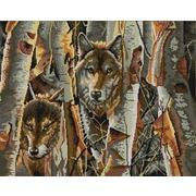 """Канва/ткань с нанесенным рисунком Конёк """"Волки в лесу"""""""
