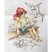 """Набор для вышивания крестом Luca-S """"Девочка с голубями"""""""