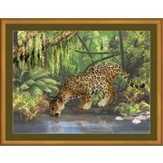 """Набор для вышивания крестом Риолис """"Леопард у воды"""""""