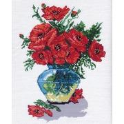 """Канва/ткань с нанесенным рисунком Матрёнин посад """"Маки в вазе"""""""