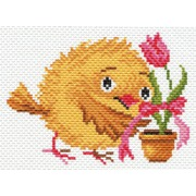 """Канва/ткань с нанесенным рисунком Матрёнин посад """"Цыпленок с тюльпаном"""""""