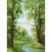 """Канва/ткань с нанесенным рисунком Матрёнин посад """"Река в лесу"""""""