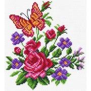 """Канва/ткань с нанесенным рисунком Матрёнин посад """"Цветы и бабочка"""""""