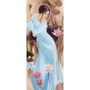 """Канва/ткань с нанесенным рисунком Матрёнин посад """"Девушка в лилиях"""""""